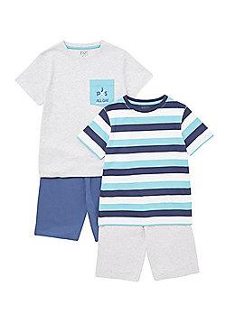 F&F 2 Pack of Striped and Pocket Pyjamas - Grey