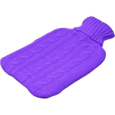 Harbour Housewares Full Size Hot Water Bottle With Knitted Cover - Purple