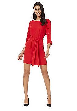 F&F Button Detail Tie Waist Tunic Dress - Red
