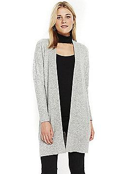 Wallis Rib Knit Panel Long Line Cardigan - Grey