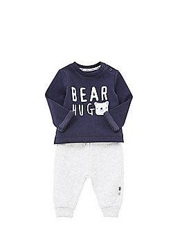 F&F Bear Hug Sweat Top and Quilted Joggers Set - Blue