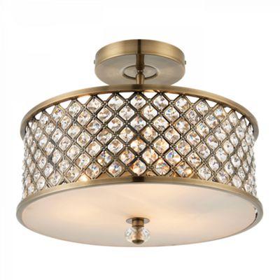 Antique Brass Effect Plate & Clear Crystal (k9) Drops 3lt Semi Flush 60W