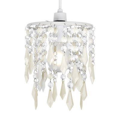 Jewel Ceiling Pendant Light Shade, Cream & Clear