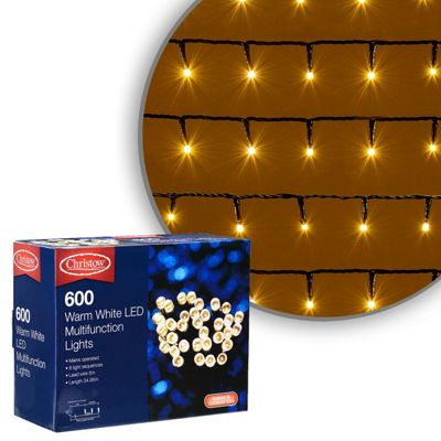 600 LED Warm White Chaser Christmas Lights