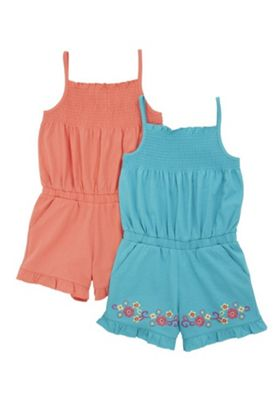 F&F 2 Pack of Embroidered and Plain Playsuits Turquoise/Coral 12-18 months
