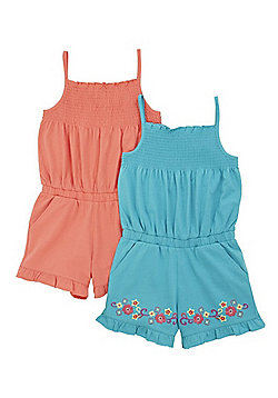 F&F 2 Pack of Embroidered and Plain Playsuits - Turquoise/Coral