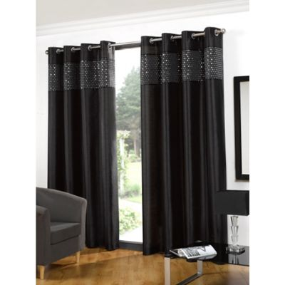 Hamilton McBride Glitz Lined Eyelet Black Curtains - 66x90 Inches (168x229cm)