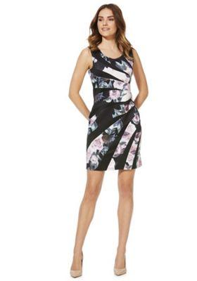 Izabel London Floral Print Panelled Bodycon Dress Black Multi 14