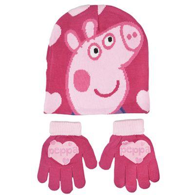 Peppa Pig 2 Piece 'Winter Set' Hat & Glove Set One Size Kids Accessories