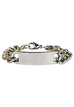 Urban Male Gold & Silver Finish Men's Chunky Curb Link ID Bracelet in Stainless Steel