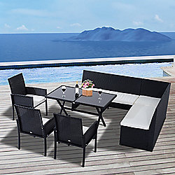 Outsunny 7pcs Rattan Sofa Set Table Chair Garden Cushioned Outdoor