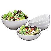 5 Piece White Porcelain Pasta/Salad Bowl Set