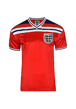 Score Draw England 1982 World Cup Finals Mens Away Football Shirt Red - Red