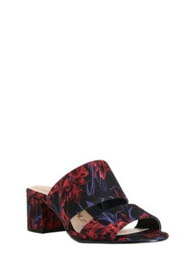 F&F Sensitive Sole Wide Fit Brocade Two Strap Heeled Mules Multi Adult 5
