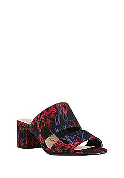 F&F Sensitive Sole Wide Fit Brocade Two Strap Heeled Mules - Multi