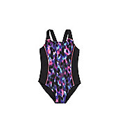 F&F Blurred Print Swimsuit - Black & Multi