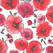 Superfresco Easy Poppies Paste The Wall Floral Red Wallpaper