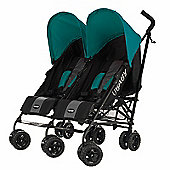 Obaby Apollo Black & Grey Twin Stroller - Turquoise