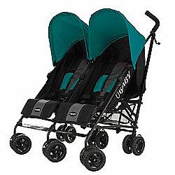 Obaby Apollo Black & Grey Twin Stroller - Turquoise