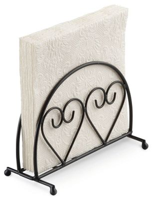 Ambiente Two Hearts Design Upright Napkin Holder, Black