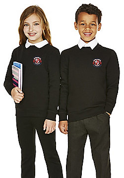 Unisex Embroidered Cotton Blend School Sweatshirt with As New Technology - Black