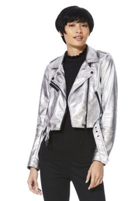 Only Metallic Faux Leather Cropped Biker Jacket Silver S