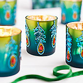 Peacock Design Christmas Tea Light Holder - Christmas Candle Holder