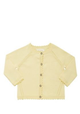 F&F Scallop Edge Button-Through Cardigan with As New Technology Yellow 0-3 months