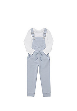 F&F Long Sleeve T-Shirt and Jersey Dungarees Set - Blue