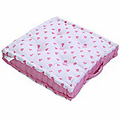 Homescapes Cotton Pink Hearts Floor Cushion, 40 x 40 cm