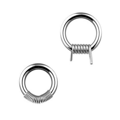 Urban Male Pair Of Surgical Stainless Steel Spring Ball Closure Rings 1.2mm Gauge