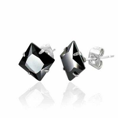 Urban Male Men's Stud Earrings 6mm Black Agate In Stainless Steel