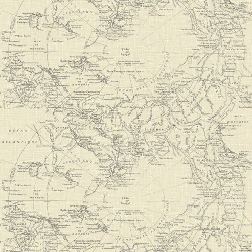 Fresco Great Value Vintage Map Cream Wallpaper