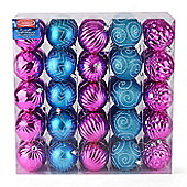 Christow 50 Luxury Christmas Baubles - Pink & Blue