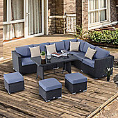 Outsunny 10PC Garden Rattan Set Outdoor Wicker Conservatory Furniture w/ Cushions & Pillow