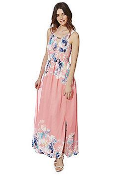 Yumi Floral Print Maxi Dress - Coral