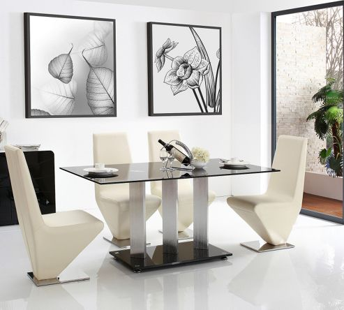 Vienna Black Glass 160 cm Dining Table with 4 Ivory Rita Chairs