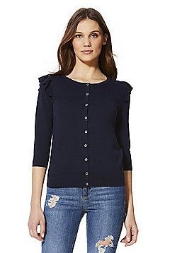 F&F Frill Cardigan with As New Technology - Navy