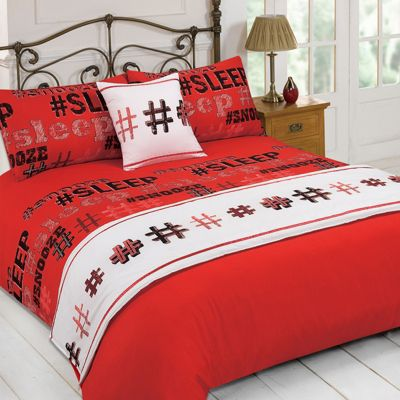 Dreamscene Hashtag Duvet Cover, 5 Pcs Bed in a Bed, Red - Single