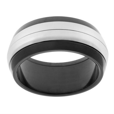 Urban Male Contemporary Black & Silver Finish Stainless Steel Men's Spinning Ring 10mm