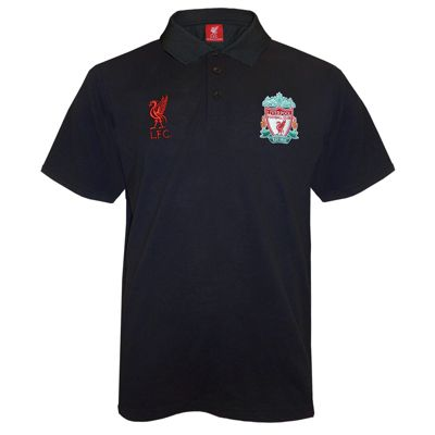 Liverpool FC Mens Polo Shirt Black Small