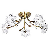 Modern Antique Brass Ceiling Light with Floral Clear Glass Shades
