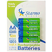 4 x Starmo AA MN1500 1200mAh HR6/1.2V Rechargeable Batteries