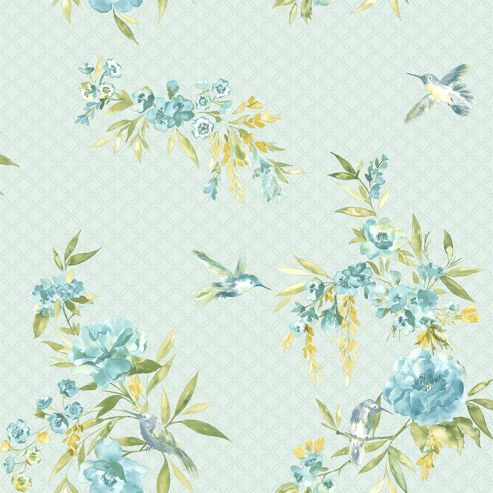 Amaya Birds Wallpaper - Teal and Blue - 11483