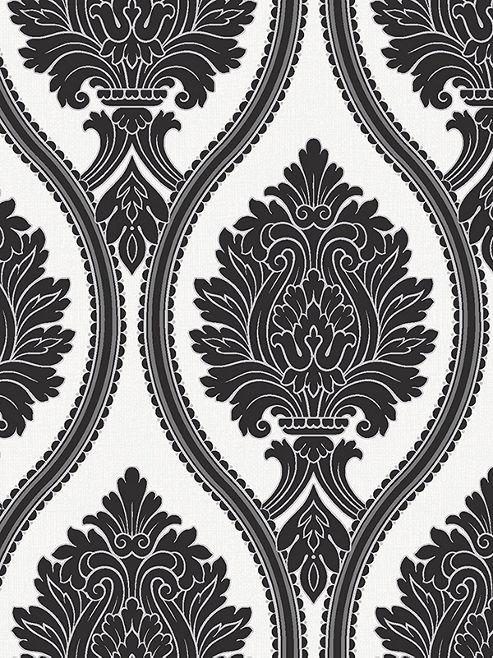 Corona Damask Wallpaper Black White Arthouse 888001