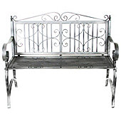 Bentley Wrought Iron Garden Bench, Ornate, Grey