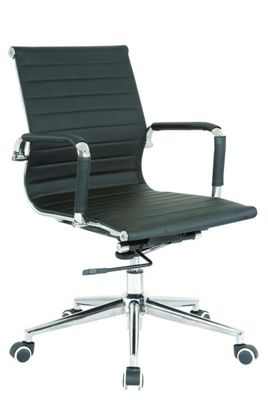 Cross Medium Back Executive Black Faux Leather Chair With Arms