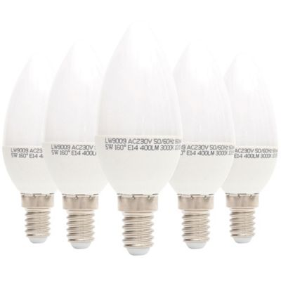 Liteway LW9009/5PACK 5 W SES E14 Candle LED Bulb, 40 W Traditional Replacement, 400 Lumens - Warm White, Pack of 5 [Energy Class A+]
