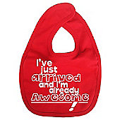 Dirty Fingers I've just arrived and I'm already Awesome! Bib Red