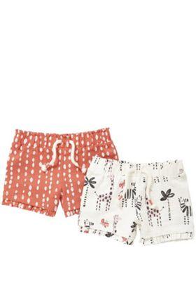 F&F 2 Pack of Printed Ruffle Hem Shorts Multi 12-18 months